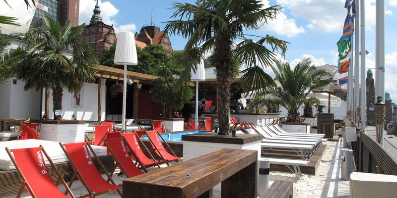 Location Beach Club With Swimming Pool And Palm Trees In